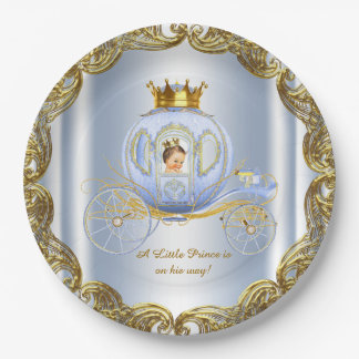 Blue Gold Prince Royal Carriage Prince Baby Shower Paper Plate