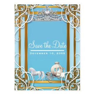 Blue Gold Princess Crown & Carriage Save the Date Postcard