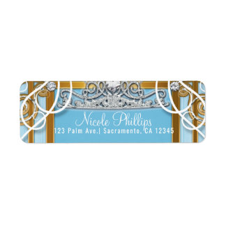 Blue Gold Princess Crown & Carriage Sweet 16 Party