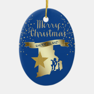 Blue Gold Rhode Island Star Christmas Ornament