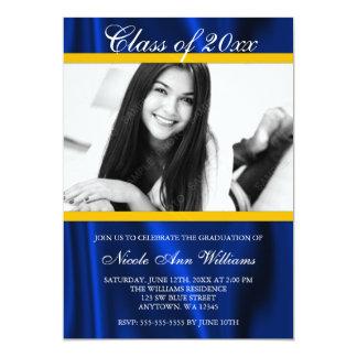 Blue Gold Satin Photo Graduation Announcement