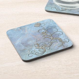 Blue Gold Shaded Floral Corkback Coaster Sets