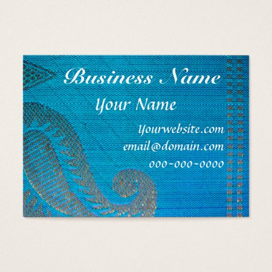 Blue & Gold Silk Paisley Cloth Business Card