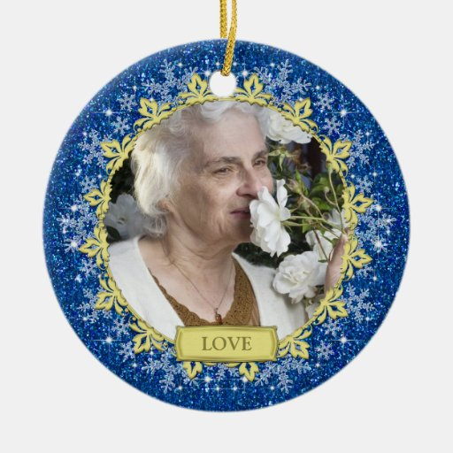 Blue Gold Snowflakes Memorial Photo Christmas Christmas Tree Ornament