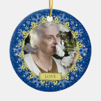 Blue Gold Snowflakes Memorial Photo Christmas Round Ceramic Decoration
