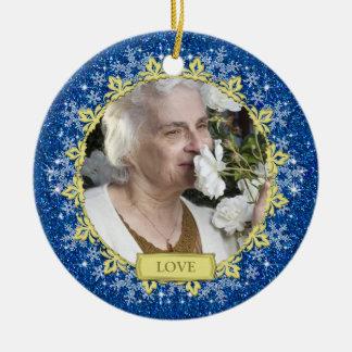 Blue Gold Snowflakes Memorial Photo Christmas Round Ceramic Decoration