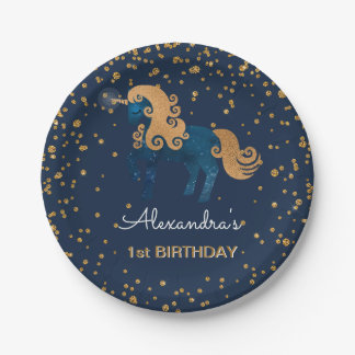 Blue & Gold Sparkle Confetti Unicorn 1st Birthday Paper Plate