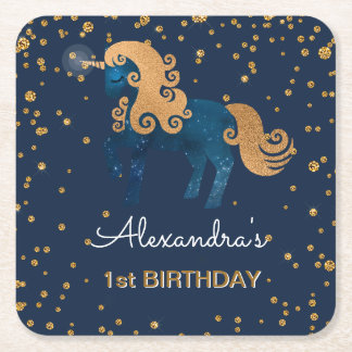 Blue & Gold Sparkle Confetti Unicorn 1st Birthday Square Paper Coaster