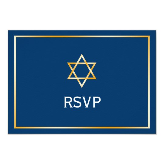 Blue Gold Star of David Bar Mitzvah RSVP Card