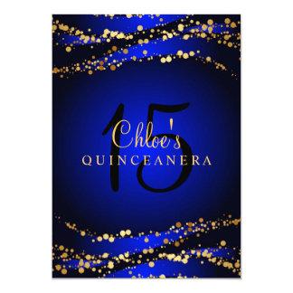 Blue & Gold Stardust Quinceañera Invitation