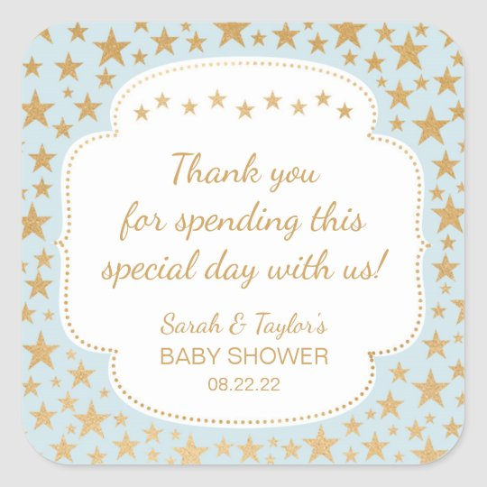 Blue Gold Stars Boy Baby Shower favour bag