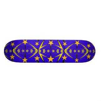 Blue Gold Stars Fractal Skateboard