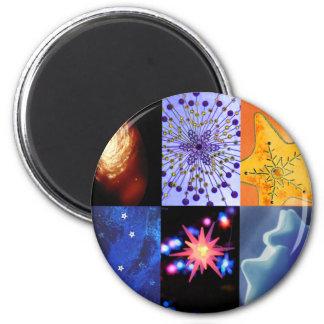 Blue & Gold Stars Photos Collage 6 Cm Round Magnet