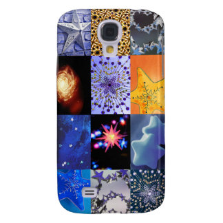 Blue Gold Stars Photos Collage Samsung Galaxy S4 Case