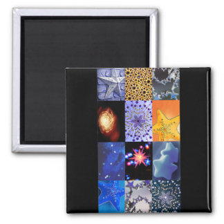 Blue & Gold Stars Photos Collage Square Magnet