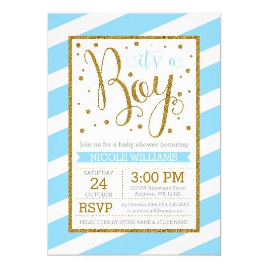 Blue Gold Stripes Boy Baby Shower Invitations