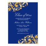"Blue Gold Swirl Graduation Party Announcement 5"" X 7"" Invitation Card"