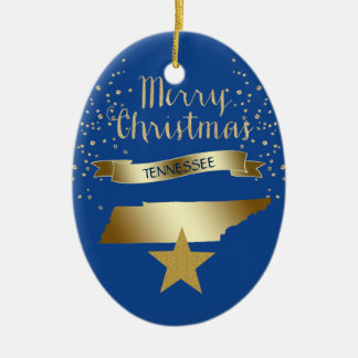 Blue Gold Tennessee Star Christmas Ornament