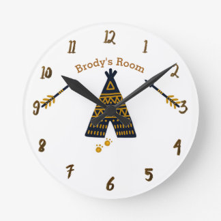Blue & Gold Tepee Boho Rustic Personalized Name Round Clock