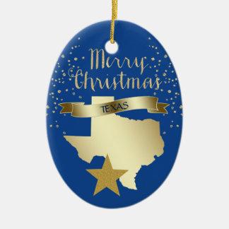 Blue Gold Texas Star Christmas Ornament
