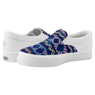 Blue Gold Tribal pattern Printed Shoes