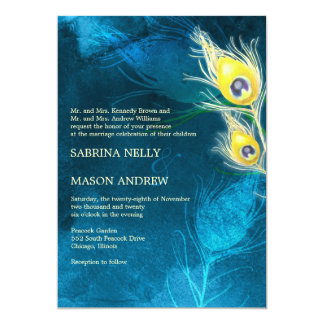 Blue & Gold Unique Peacock Wedding Card
