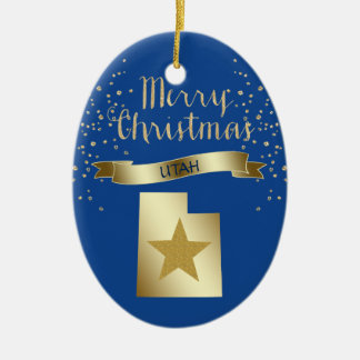 Blue Gold Utah Star Christmas Ornament