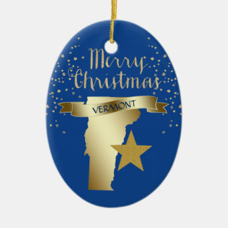 Blue Gold Vermont Star Christmas Ornament