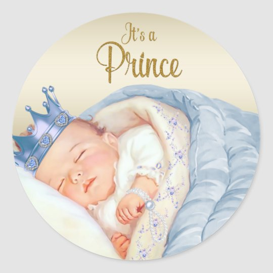 Blue Gold Vintage Prince Baby Shower Classic Round