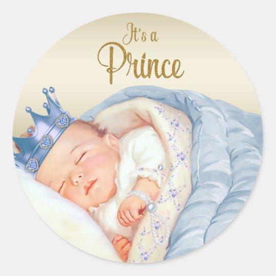 Blue Gold Vintage Prince Baby Shower Round Sticker
