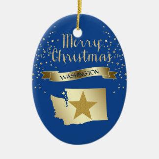 Blue Gold Washington Star Christmas Ornament