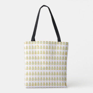 Blue Gold White Bohemian Tote