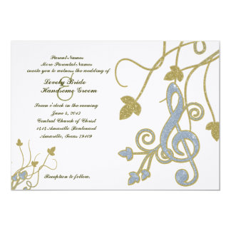 Blue Gold White Music Wedding Invitation