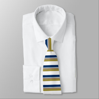 Blue Gold White Orange & Silver Striped Tie