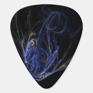 Blue, Gold, White Swirls on Black Background Plectrum