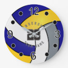 Blue, Gold & White Volleyball Style with DIY Text Large Clock