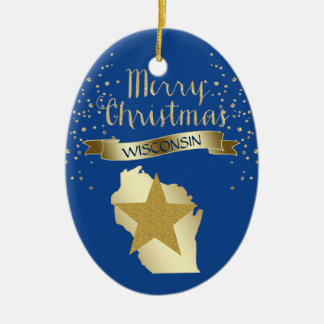 Blue Gold Wisconsin Star Christmas Ornament