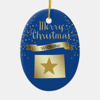 Blue Gold Wyoming Star Christmas Ornament