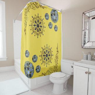 Blue gold yellow showercurtain shower curtain