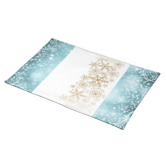 Blue, golden and white Christmas mat