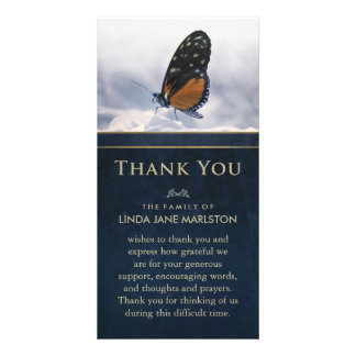 Blue Golden Butterfly Sympathy Thank You Card Photo Card Template