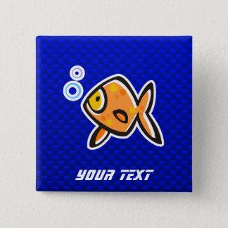 Blue Goldfish 15 Cm Square Badge