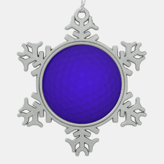 Blue Golf Ball Pewter Snowflake Decoration