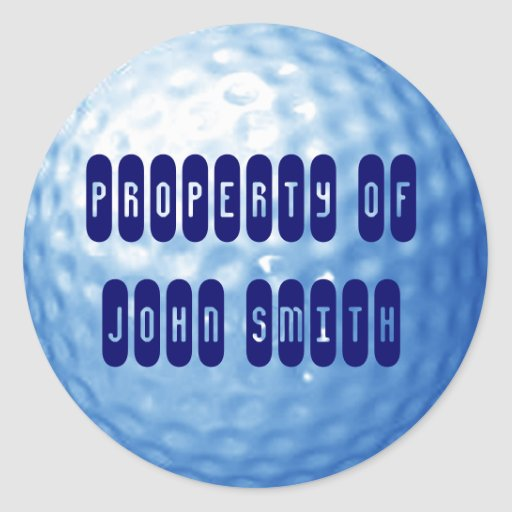 Blue Golf  Ball Property of Name Stickers