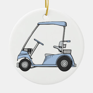 Blue Golf Cart Christmas Ornament