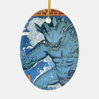Blue Gorgo Ceramic Oval Decoration