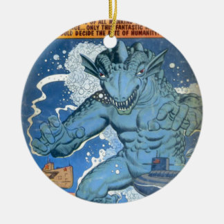 Blue Gorgo Round Ceramic Decoration