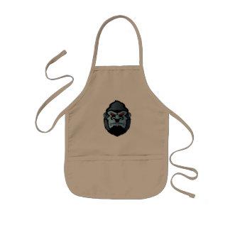 blue gorilla head kids apron