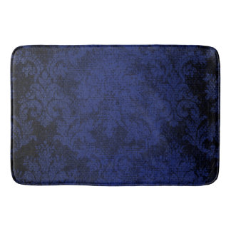 Blue Goth Victorian Damask Vintage Wallpaper Bath Mat