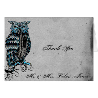 Blue Gothic Owl Posh Wedding Thank You Card